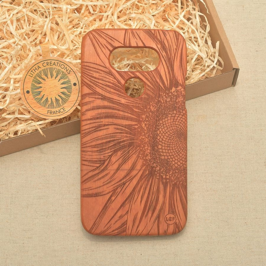 Floral CLOSE TO SUN Wood Phone Case