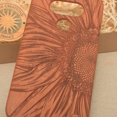 Floral CLOSE TO SUN Wood Phone Case - litha-creations-france