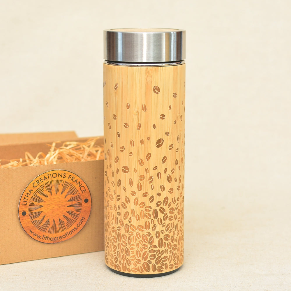 Engraved Wooden Thermos Vacuum Flask COFFEE BEANS