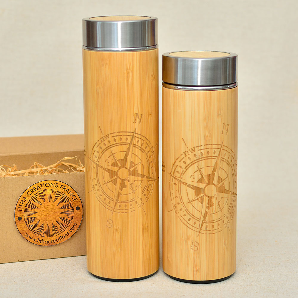 COMPASS Wood Thermos Small or Large Size Vacuum flask