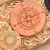 COMPASS Wood Gift Wireless Phone Charger 10W QI Charging Pad Custom Engraved