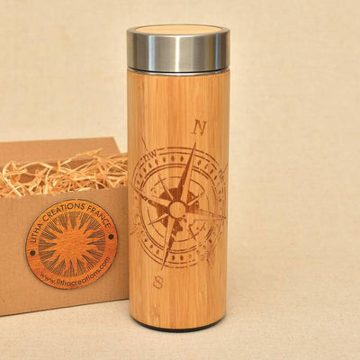 COMPASS Wood Thermos Vacuum Flask - litha-creations-france