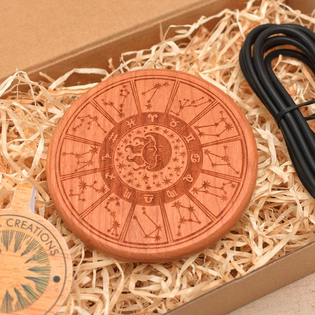 CONSTELLATIONS  Wood Wireless QI Charging Pad