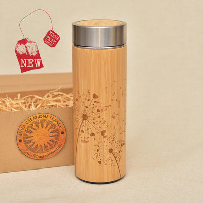 DANDELION NOTES Wood Thermos Vacuum Flask - litha-creations-france