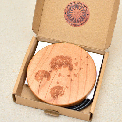 DANDELIONS Wood Wireless Phone Charger 10W QI Charging Pad Custom Engraved