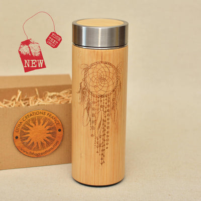 DREAMCATCHER Wood Thermos Vacuum Flask - litha-creations-france