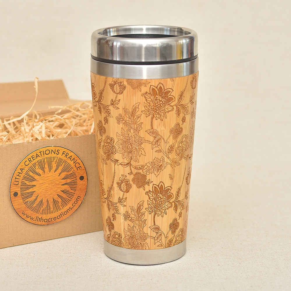DREAMILY Engraved Wood Travel Tumbler Mug - litha-creations-france