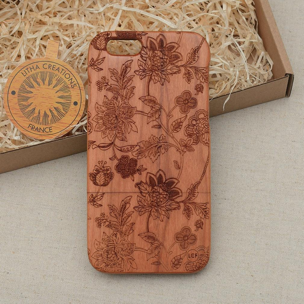 DREAMILY Wood Phone Case Abstract Floral Custom Design - litha-creations-france