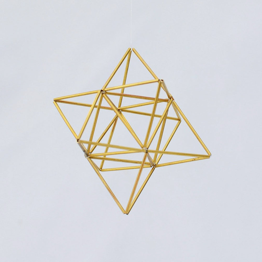 Small EGG OF LIFE Merkaba Tetrahedron Star of David 3 D Himmeli Hanging Brass Home Decor - litha-creations-france