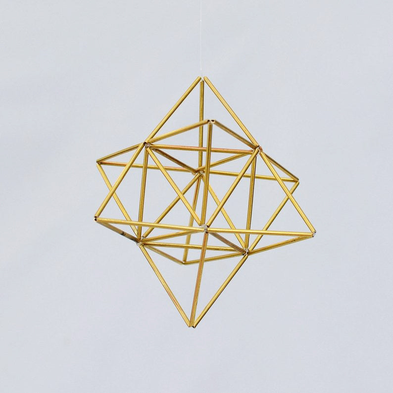 Small EGG OF LIFE, Merkaba, Tetrahedron Star of David 3 D Himmeli Hanging Brass Home Decor - litha-creations-france