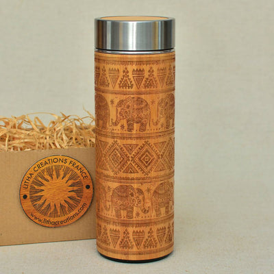 ETHNIC ELEPHANTS Wood Thermos Vacuum Flask