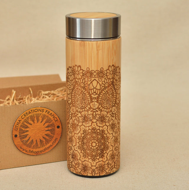 ETHNIC MANDALA Wood Thermos Vacuum Flask