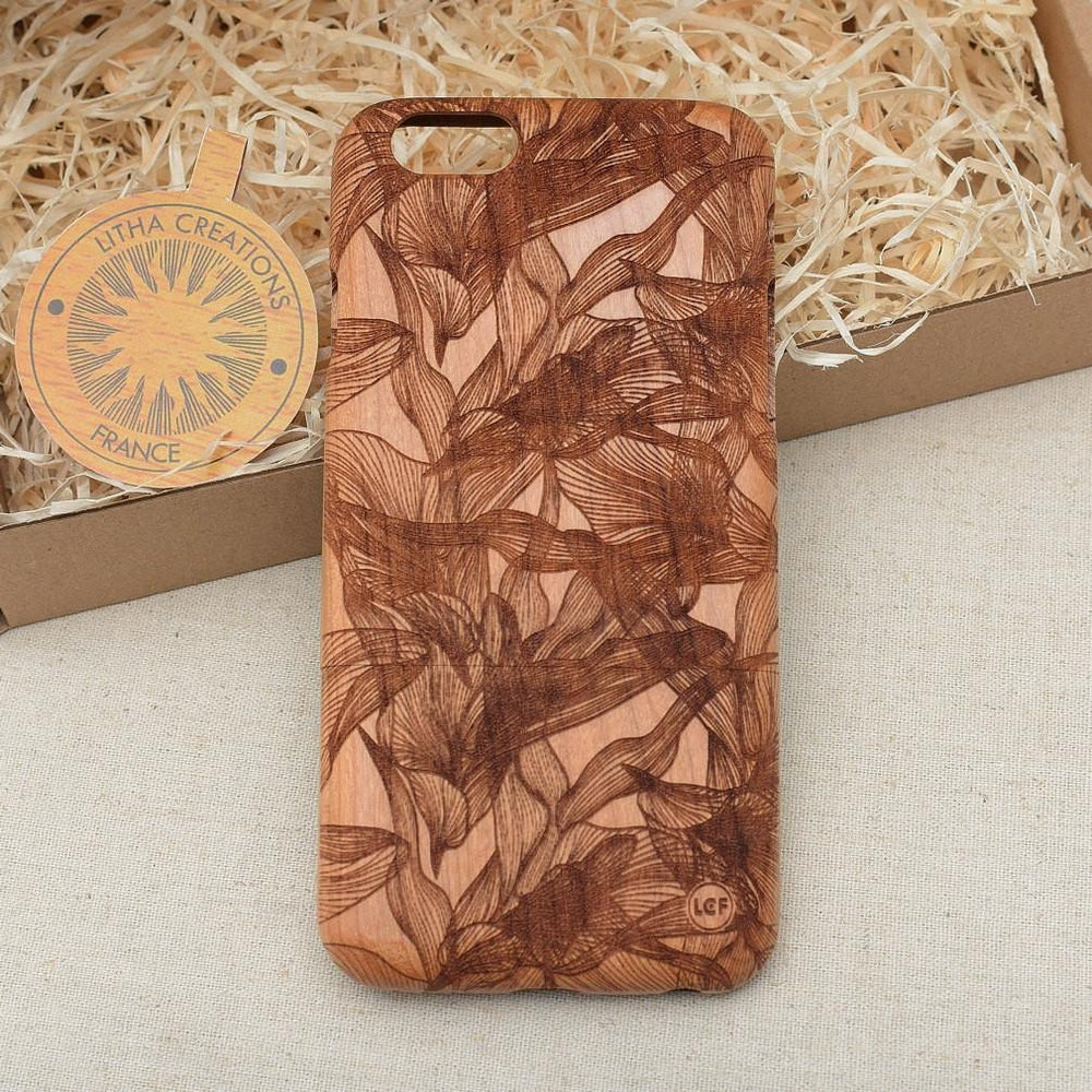 EUPHORIA Wood Phone Case Abstract Floral Custom Design - litha-creations-france