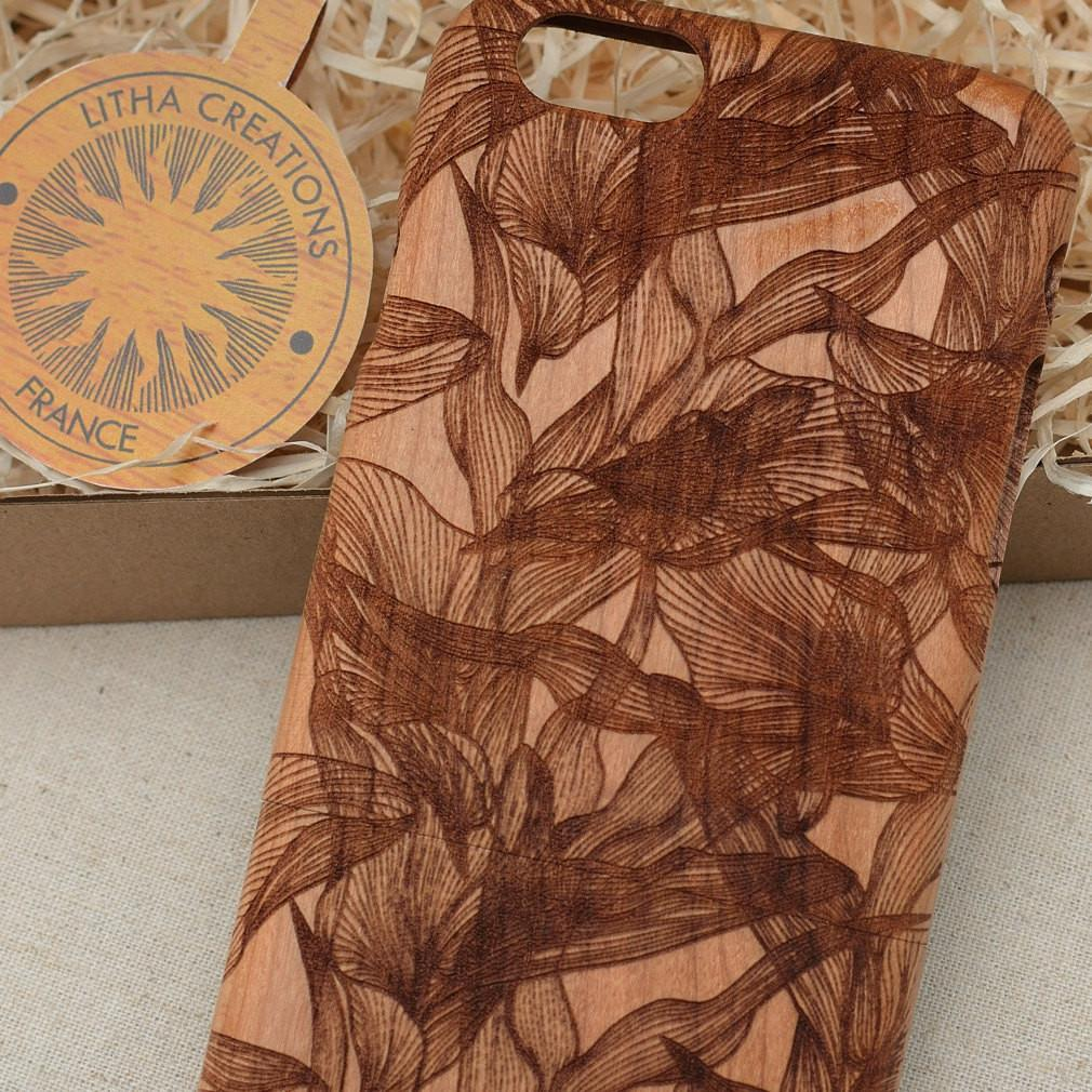 Abstract Floral EUPHORIA Wood Phone Case