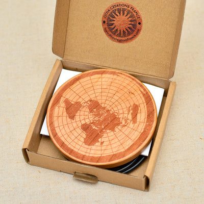 FLAT EARTH Wood Wireless Phone Charger 10W Custom Engraved QI Charging Pad