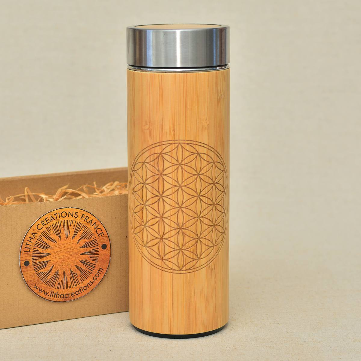 FLOWER OF LIFE Wood Thermos Vacuum Flask