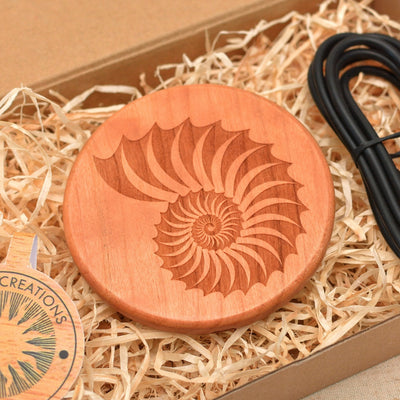 FOSSIL SHELL Wood Gift Wireless Phone Charger 10W QI Charging Pad Custom Engraved