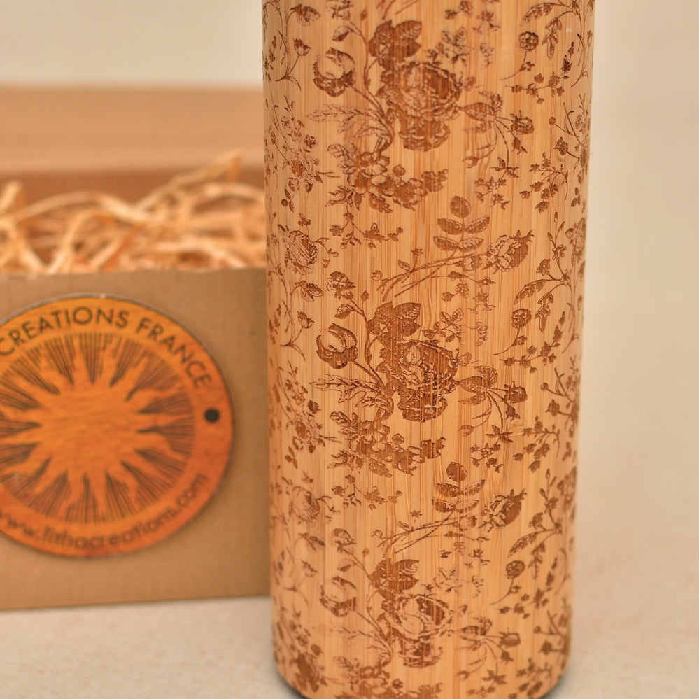 FRENCH ROSES Wood Thermos Vacuum Flask