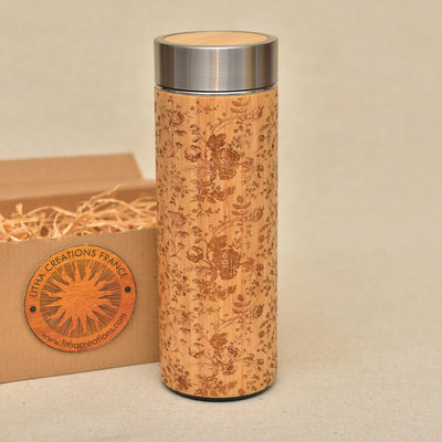 FRENCH ROSES Wood Thermos Vacuum Flask - litha-creations-france