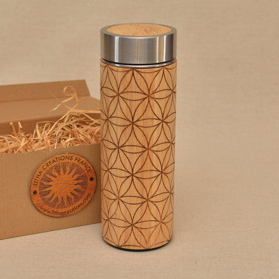 FULL FLOWER OF LIFE Wood Thermos Vacuum Flask - litha-creations-france