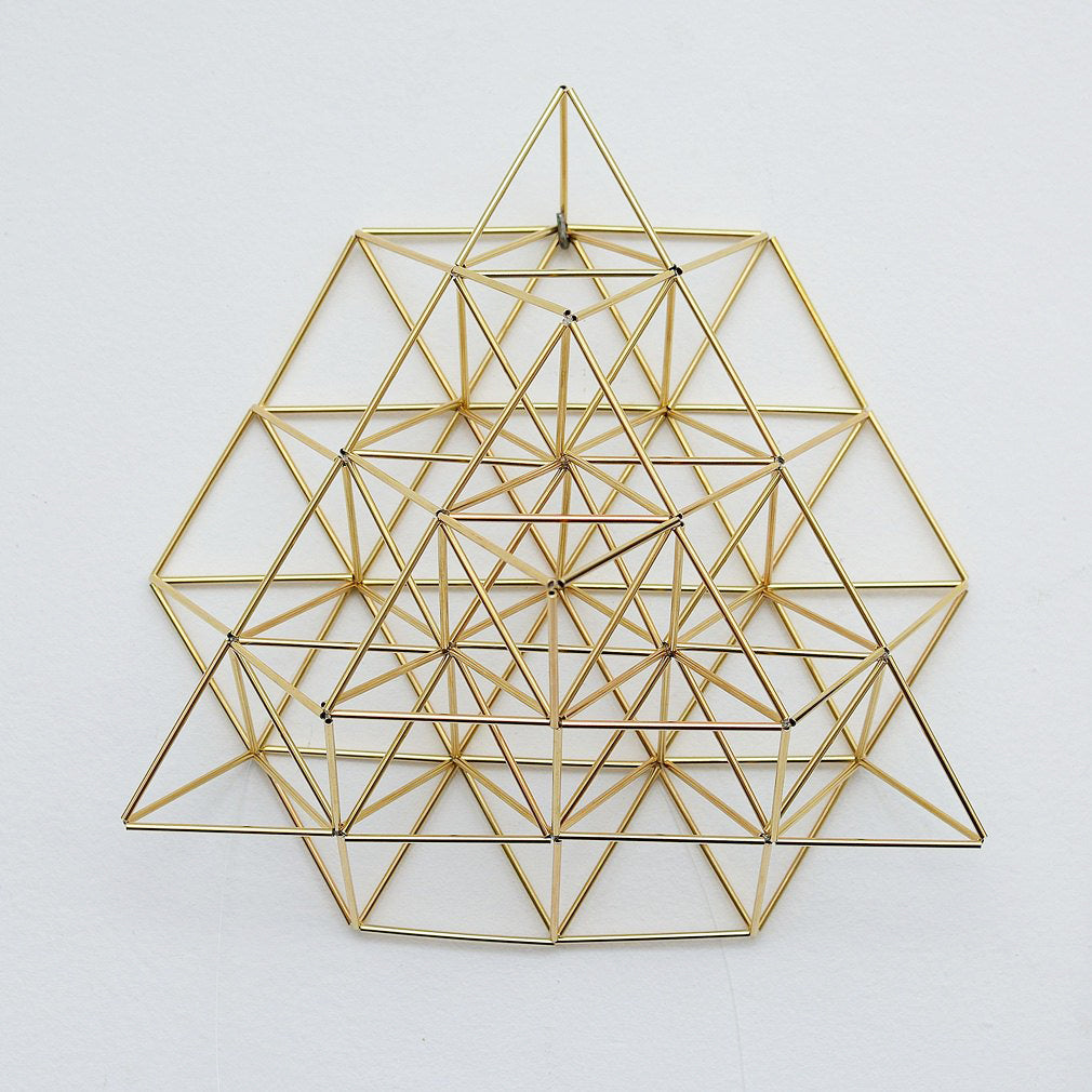 Flower of Life Himmeli Wall Decor 3D by Nassim Haramein, Polished Brass Home Decor