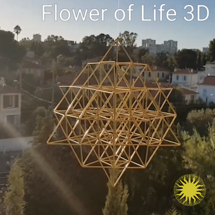 Fine FLOWER OF LIFE 3D by Nassim Haramein, Himmeli Hanging Polished Brass Mobile Home Decor