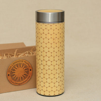 GRAPHENE LATTICE Wood Thermos Vacuum Flask - litha-creations-france