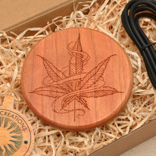Wood QI Charger Wireless Charging Pad Custom Design HEMP LEAVE Engraved Cherry Wood