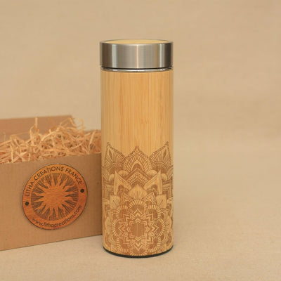 HALF MANDALA Wood Thermos Vacuum Flask