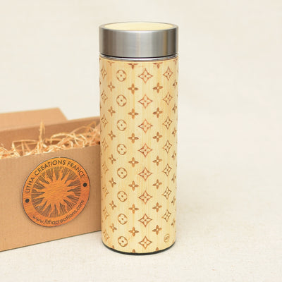 LOUIS LIGHT Wood Thermos Vacuum Flask - litha-creations-france