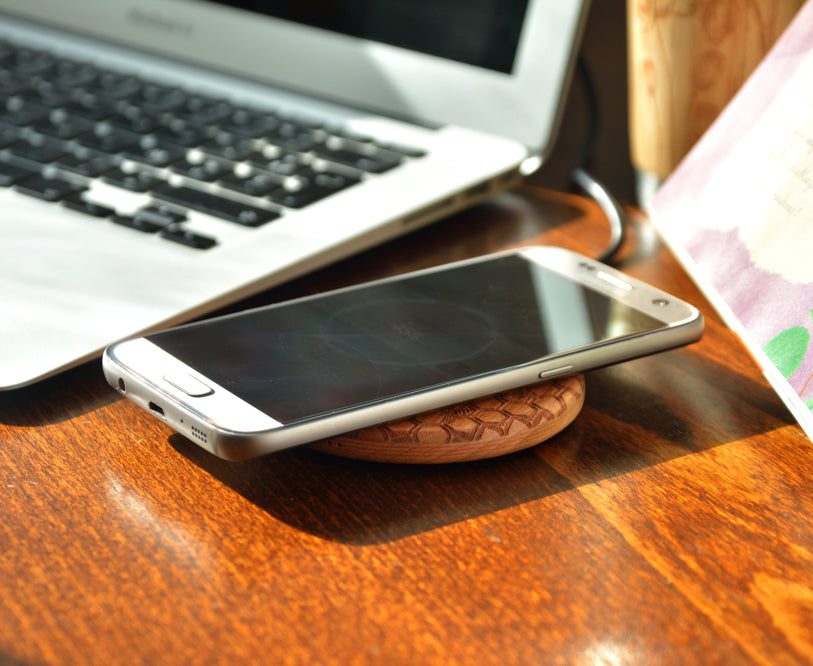 Personalized Wood Wireless QI Charging Pad
