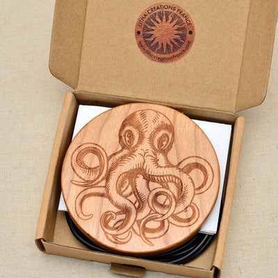 OCTOPUS Wood Wireless Phone Charger 10W Custom Engraved QI Charging Pad
