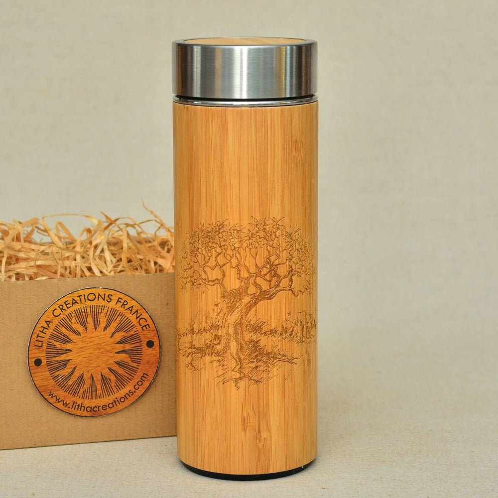 OLIVIER Natural Bamboo Wood Thermos Small or Large Size Vacuum flask