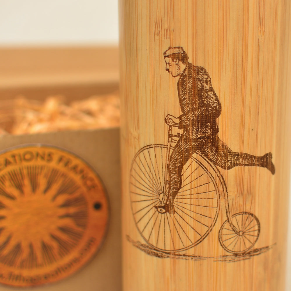 PENNY FARTHING  Wood Thermos Vacuum Flask