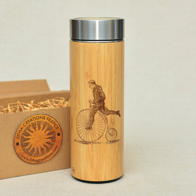 PENNY FARTHING  Wood Thermos Vacuum Flask - litha-creations-france