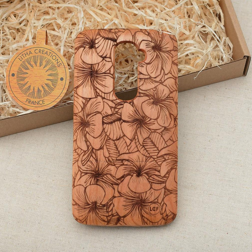 Abstract Floral PLUMERIA Wood Phone Case - litha-creations-france
