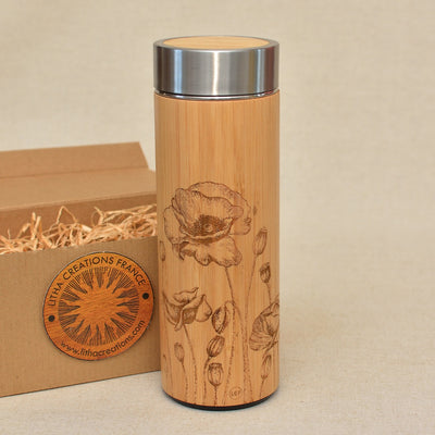POPPY ROW Wood Thermos Vacuum Flask - litha-creations-france