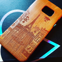 PARIS CAFE Wood Phone Case Vintage Custom Design - litha-creations-france