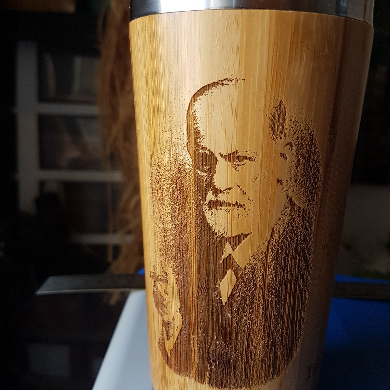 YOUR IMAGE on ONE SIDE Custom Engraved of Wood Travel Mug Wooden Tumbler