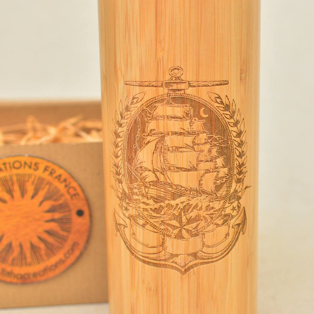 SAILING IN THE MOONLIGHT Wood Thermos Vacuum Flask - litha-creations-france