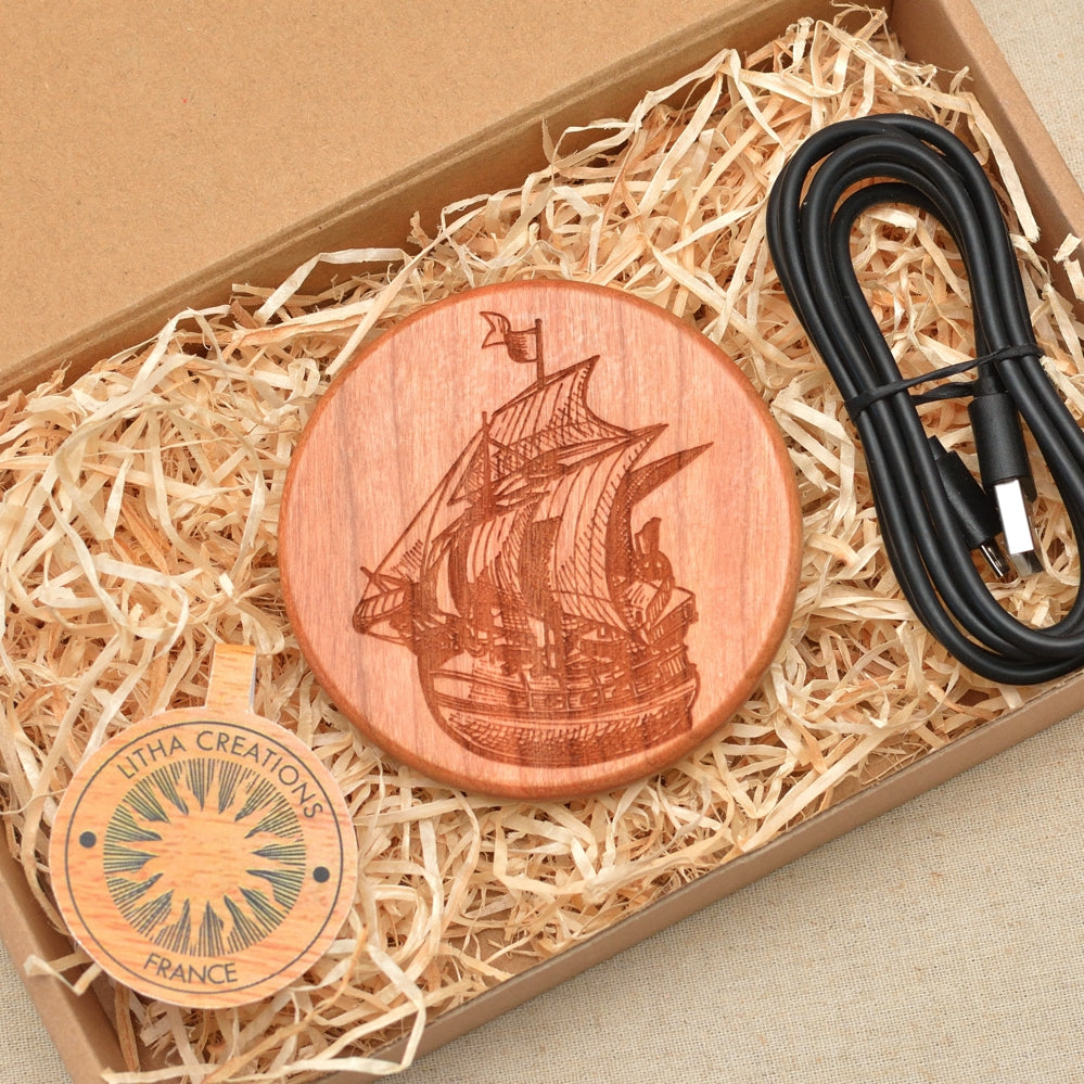 SAILING SHIP  Wood Wireless QI Charging Pad