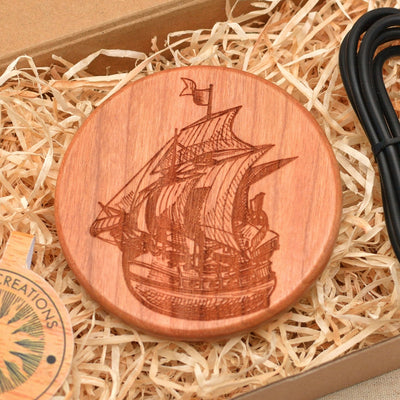 SAILING SHIP Wood Wireless Phone Charger 10W QI Charging Pad Custom Engraved - litha-creations-france
