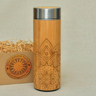 STAR MANDALA Wood Thermos Vacuum Flask