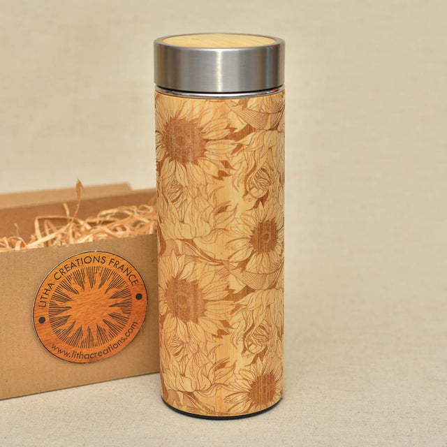 PROVENCE SUNFLOWERS Wood Thermos Vacuum Flask