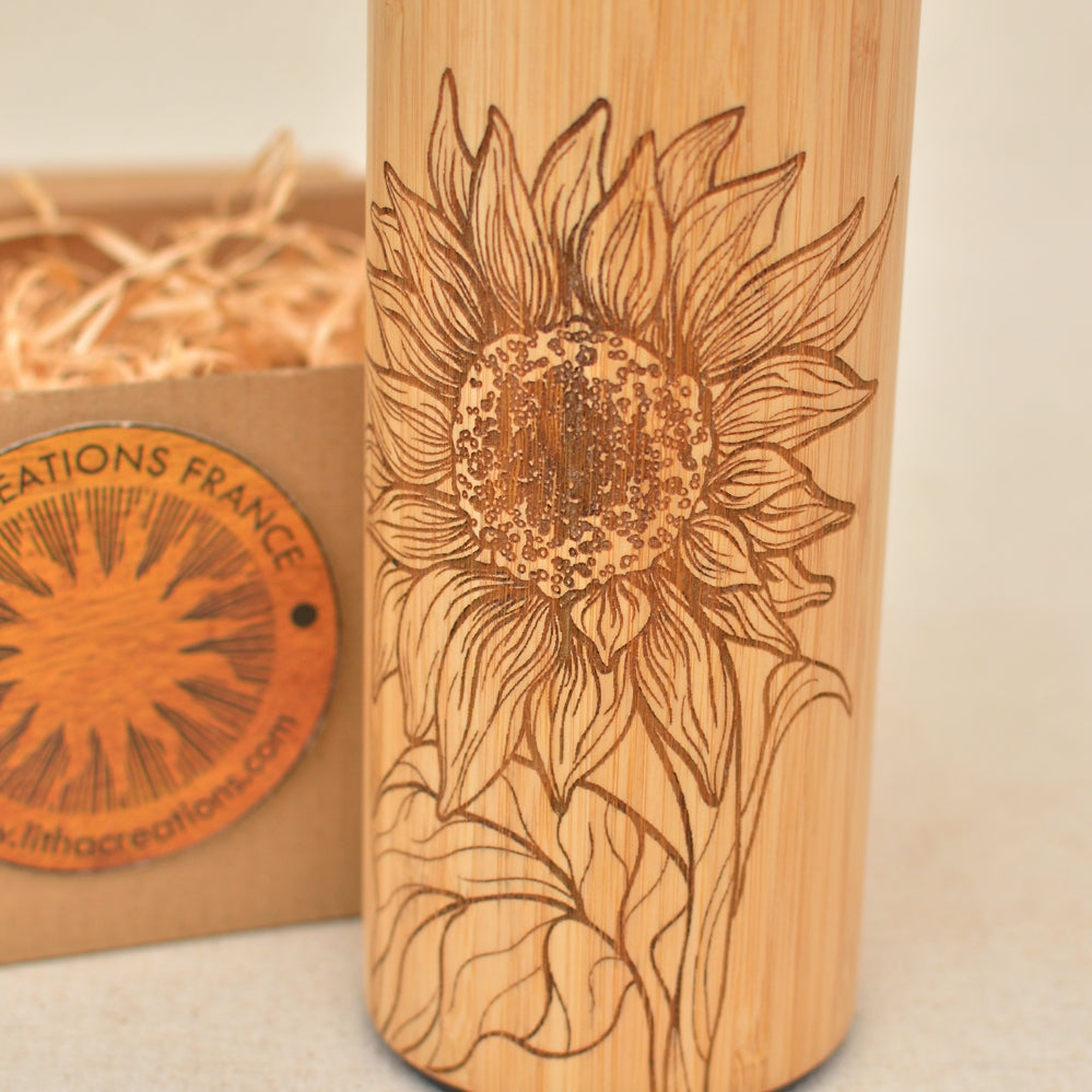 Bamboo Wood Thermos Flask Original Customized Engraving SUNFLOWER