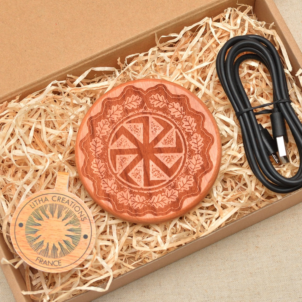 SUN WHEEL Wood Wireless QI Charging Pad