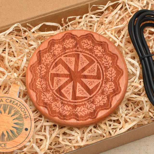 Wood QI Charger Wireless Charging Pad Custom Design SUN WHEEL Engraved Cherry Wood