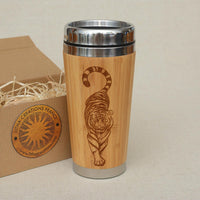 TIGER Custom Engraved Wood Travel Mug Tumbler