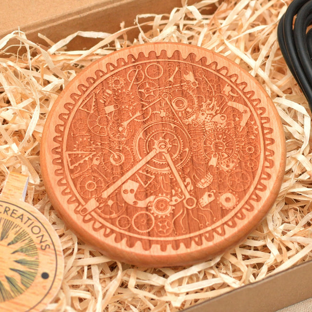 Wood QI Charger Wireless Charging Pad Custom Design TIME WHEEL Engraved Cherry Wood