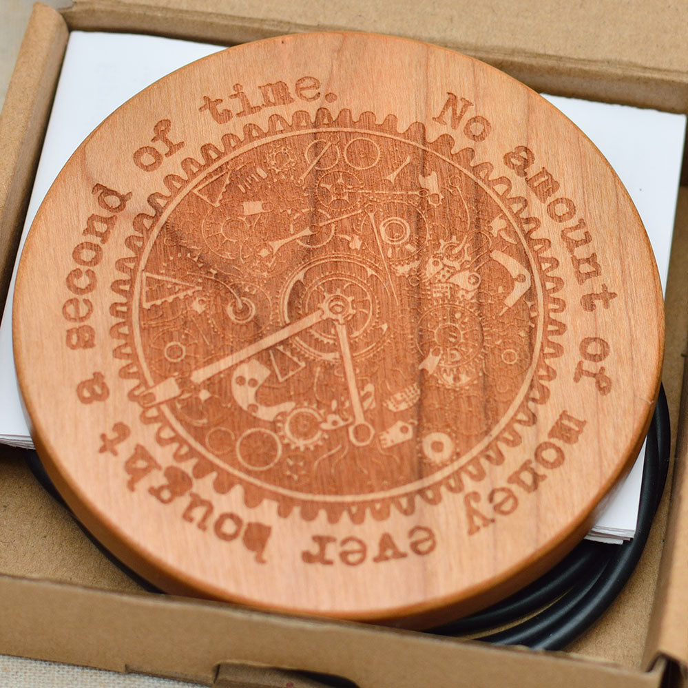 TIME WHEEL Wood Wireless Phone Charger 10W QI Charging Pad Custom Engraved